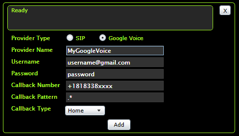 New Google Voice provider
